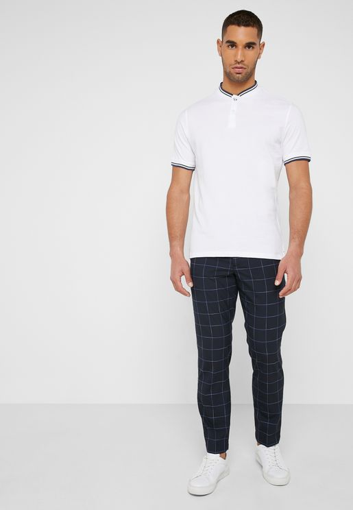Slim Fit Check Print Trousers
