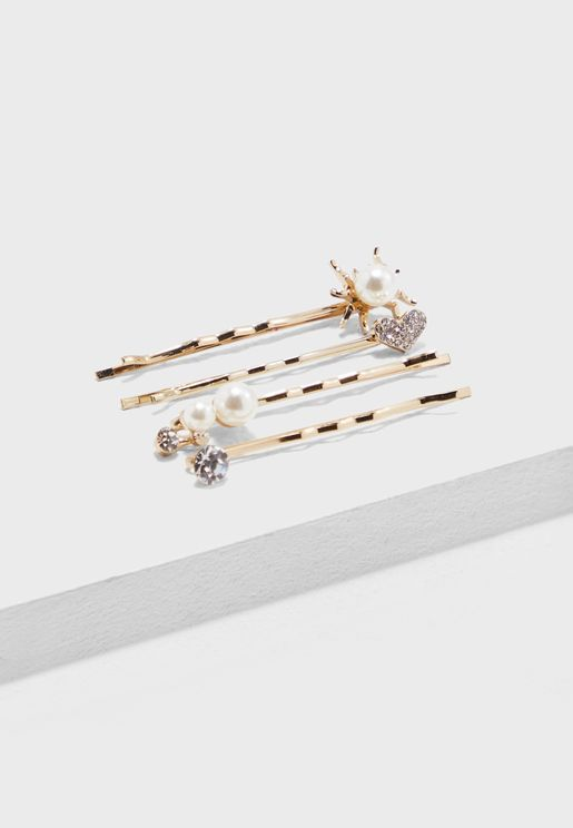 4-Pack Pearl Detail Hair Slides