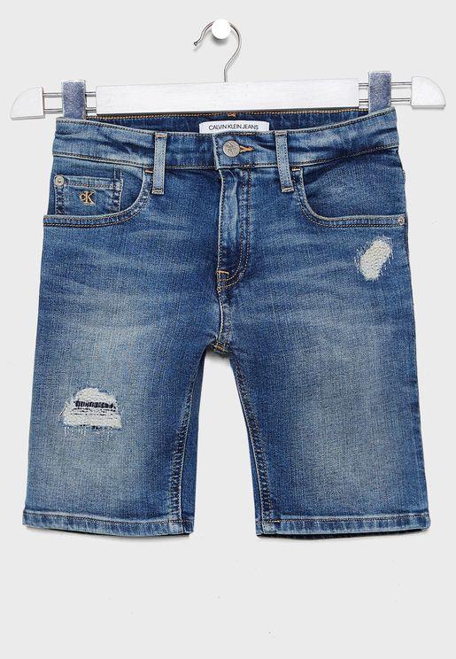 Kids Roll Hem Distressed Denim Shorts