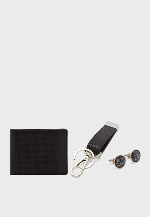 Wallet, Key Chain And Cuff Link Gifting Set