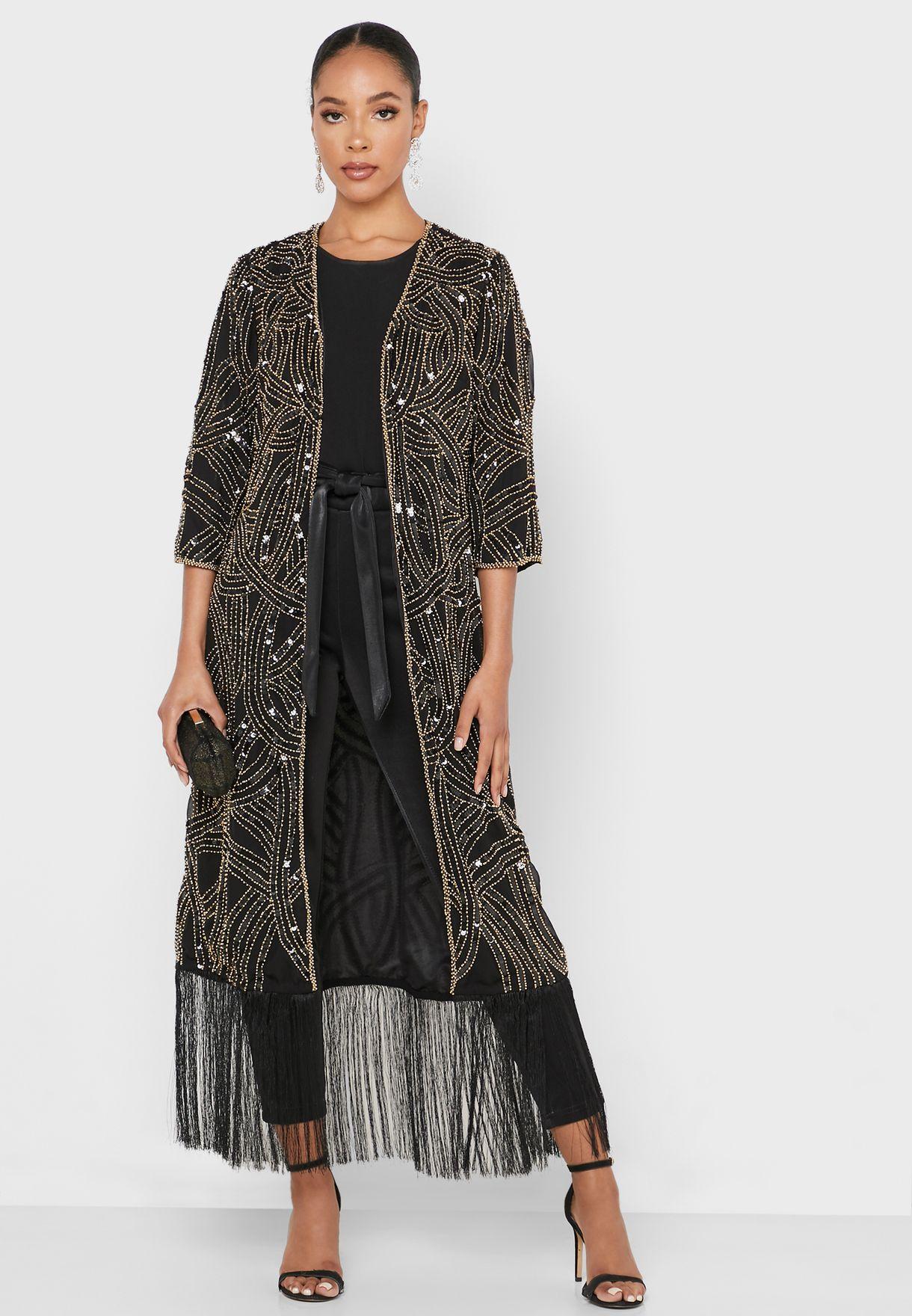 Longline Embellished Fringe Kimono