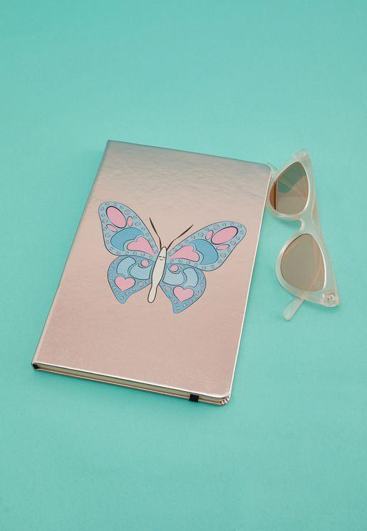 A5 Metallic Butterfly Notebook