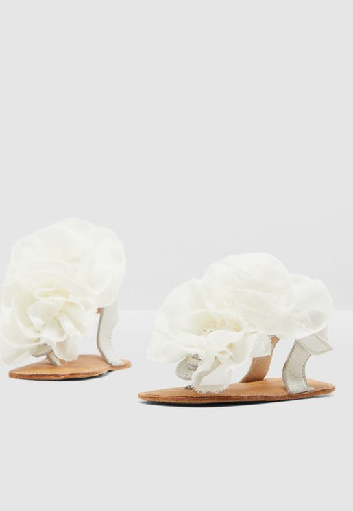 Infant Tulle Flower Applique Sandal