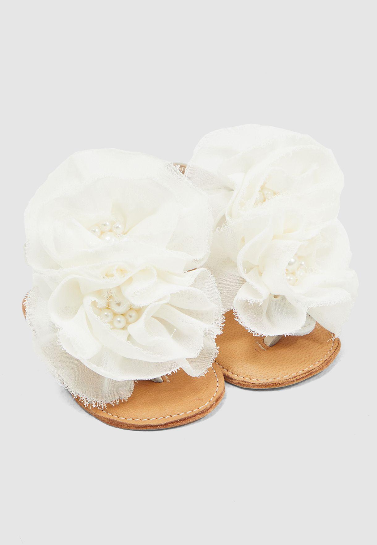 Infant Tulle Flower Applique Sandal
