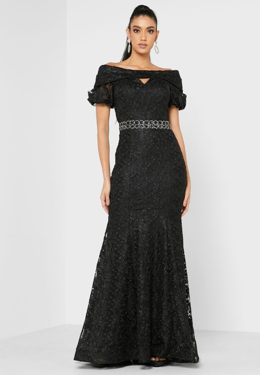 Embellished Waist Bardot Lace Dress