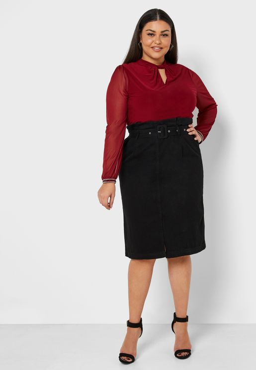 Paperbag Pencil Midi Skirt