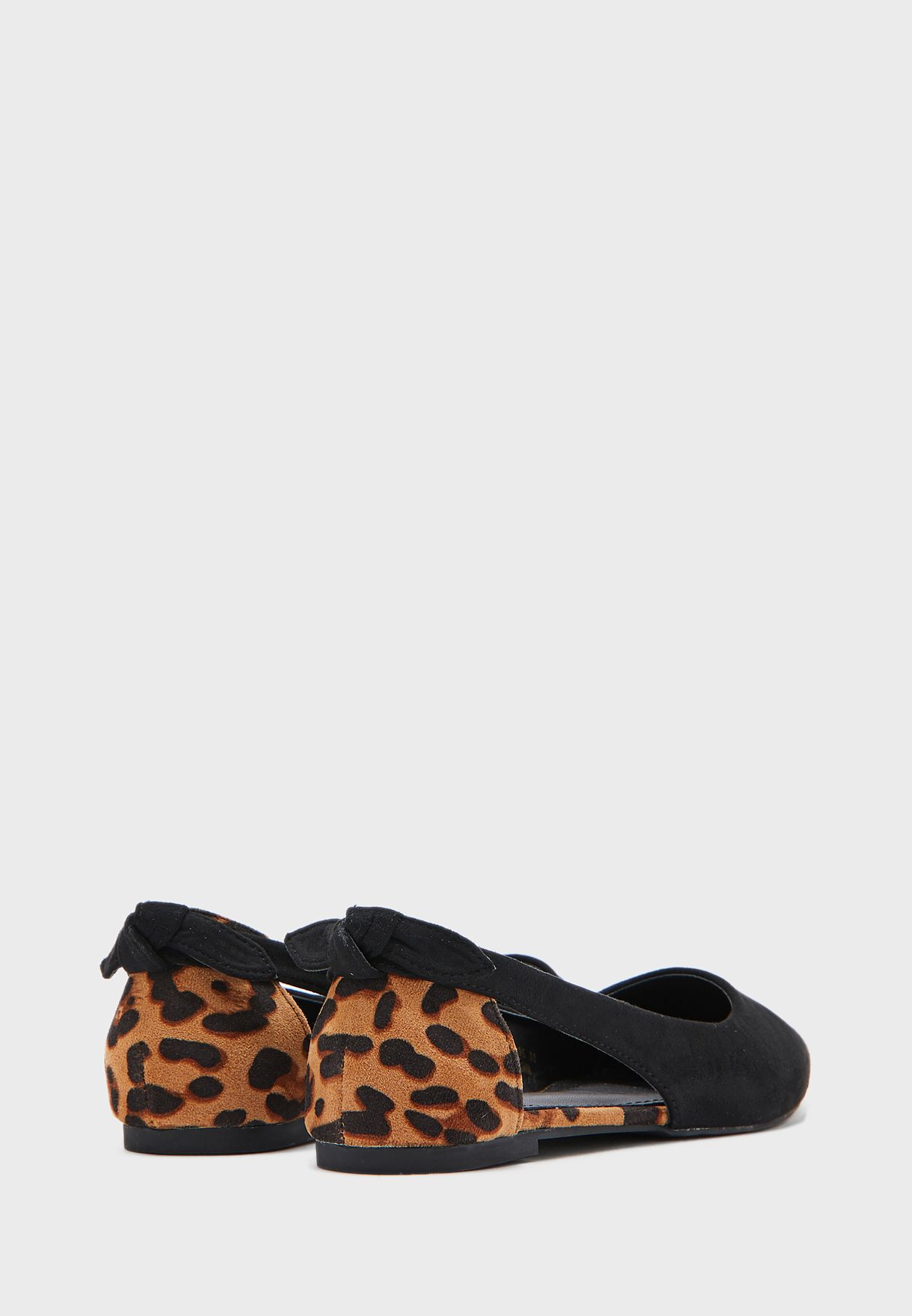 Pointed Leopard Back Bow Pointed Flat Shoe