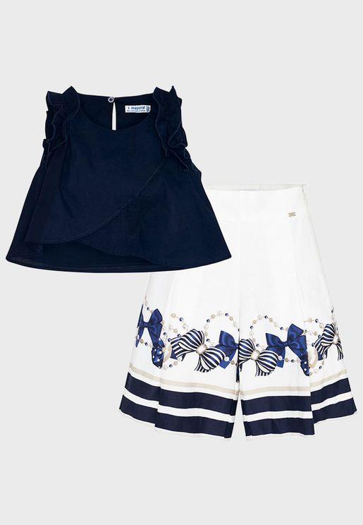 Kids Ruffle Sleeve Top + Graphic Trouser Set