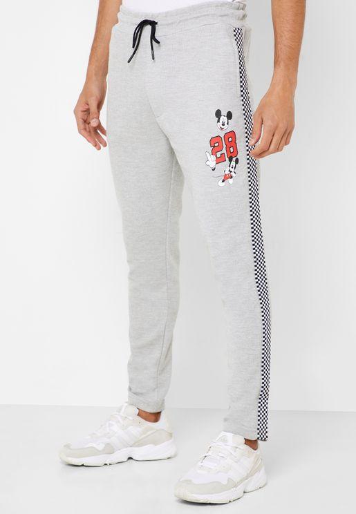 Mickey Mouse Side Stripe Sweatpants
