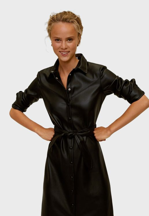 Belted Pu Shirt Dress