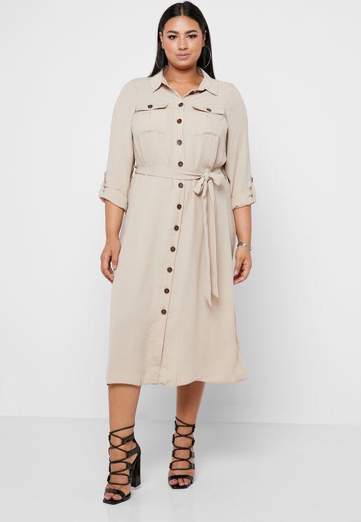 fd5f8b2db7 Utility Linen Blend Shirt Dress