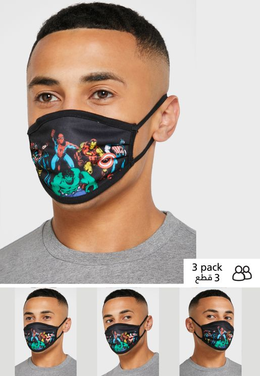 Pack of 3 Marvel Fabric Face Cover Mask