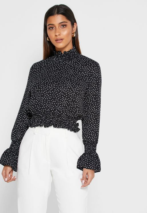 Polka Dot Shirred Trim Top