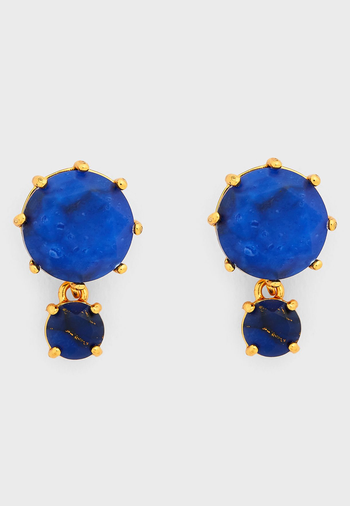 Dark Blue Stone Earrings