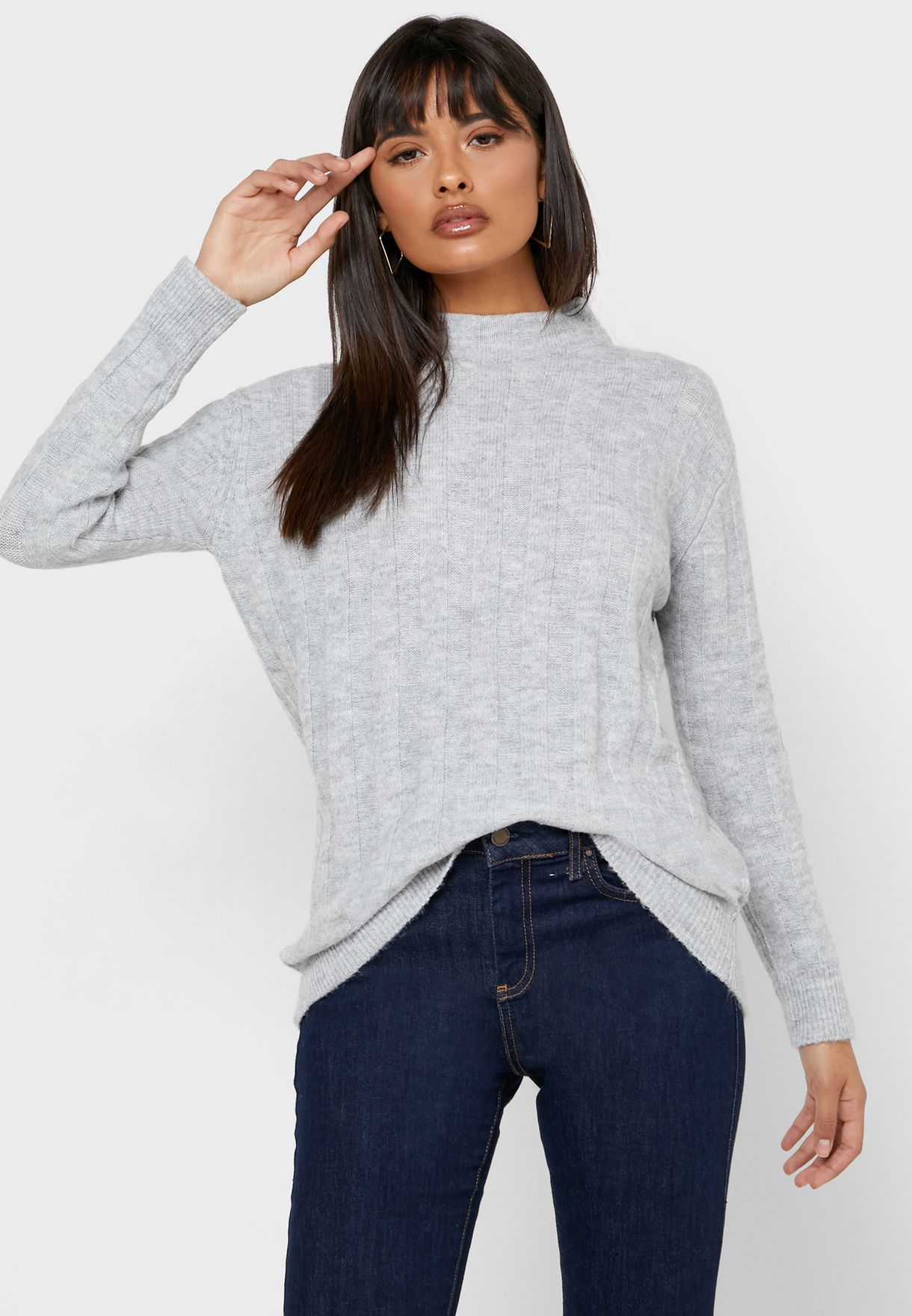 Longline High Neck Ribbed Sweater