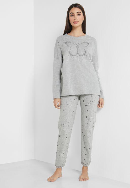 Butterfly Printed T-Shirt & Pyjama Set