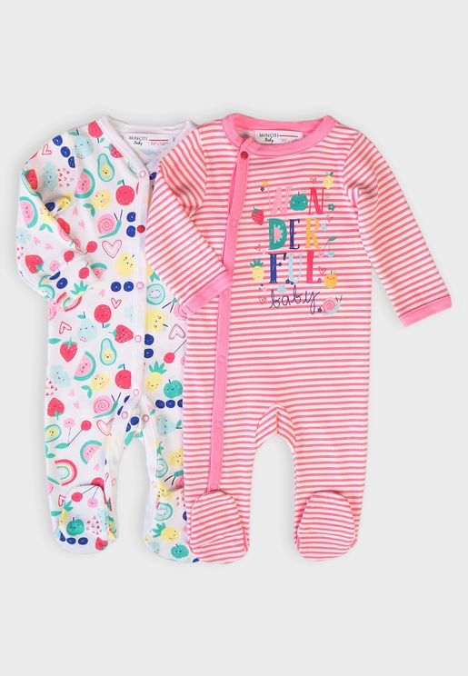 Infant 2 Pack Assorted Sleepsuit