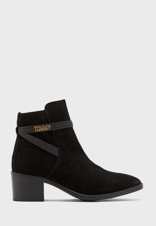 Block Branding Suede Ankle Boot