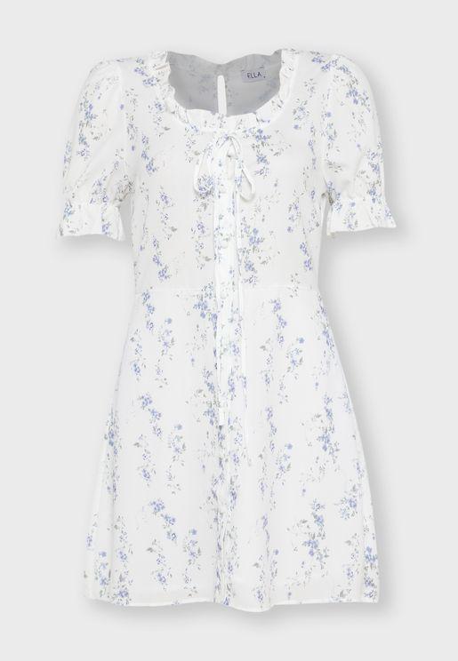 Floral Print Ruffle Tie Neck Mini Dress