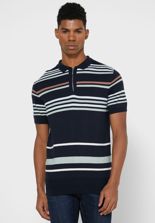 Stripe Detail Knitted Polo