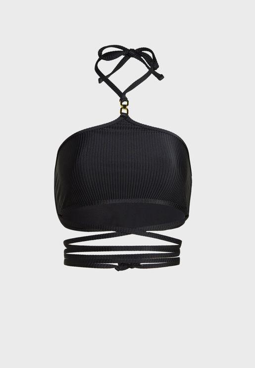 Strappy Wrap Halter Bikini Top