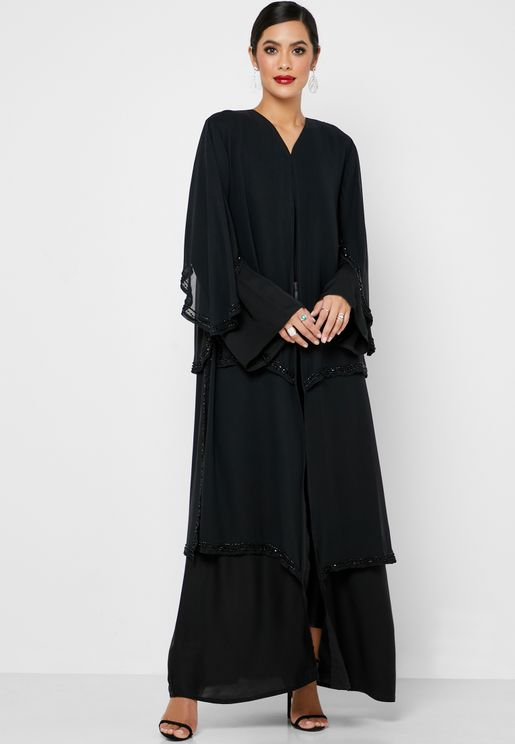 Beaded Layered Abaya