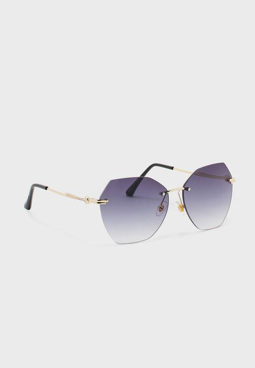 Oversized Hexagon Sunglasses With Diamante Arm