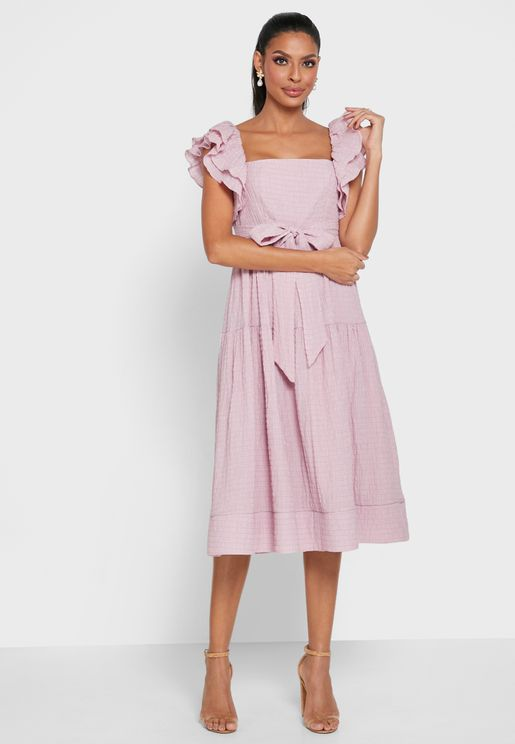 Layered Sleeves Tiered Dress