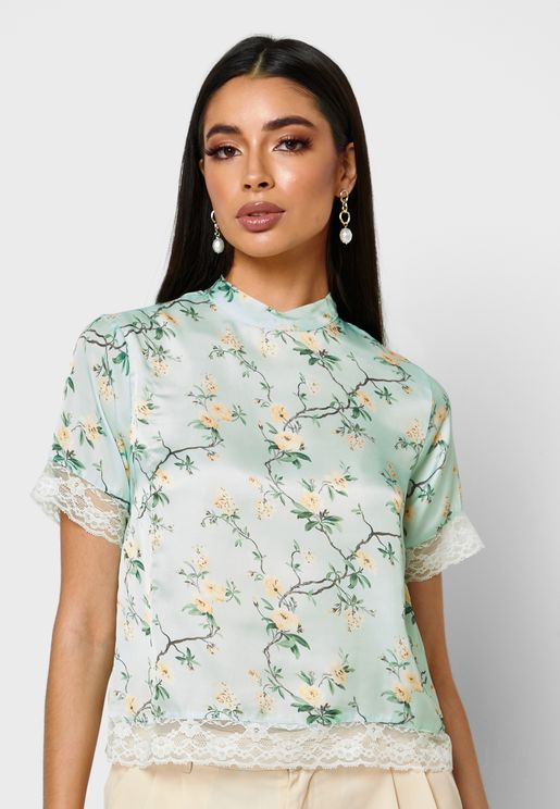 Floral Print Lace Detail Top