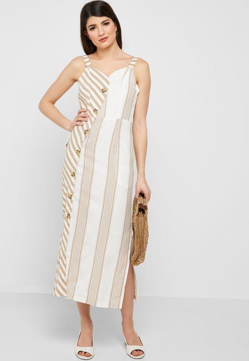 Striped Asymmetric Button Down Midi Dress