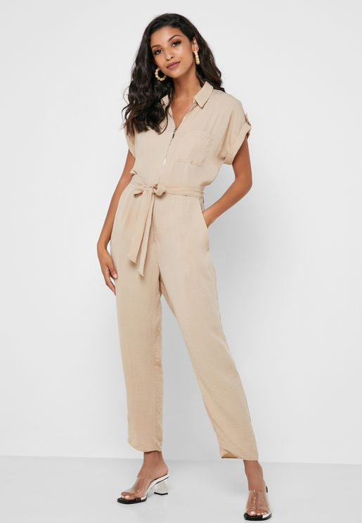 Zip Detail Belted Jumpsuit