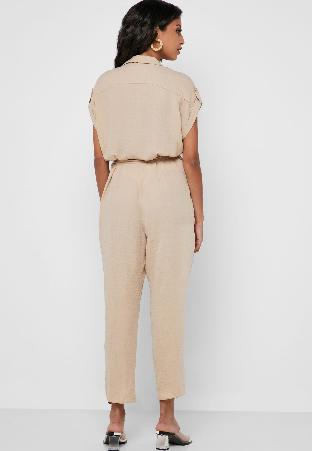 Zip Detail Belted Jumpsuit