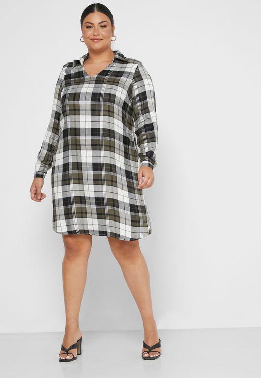 Checked V-Neck Dress
