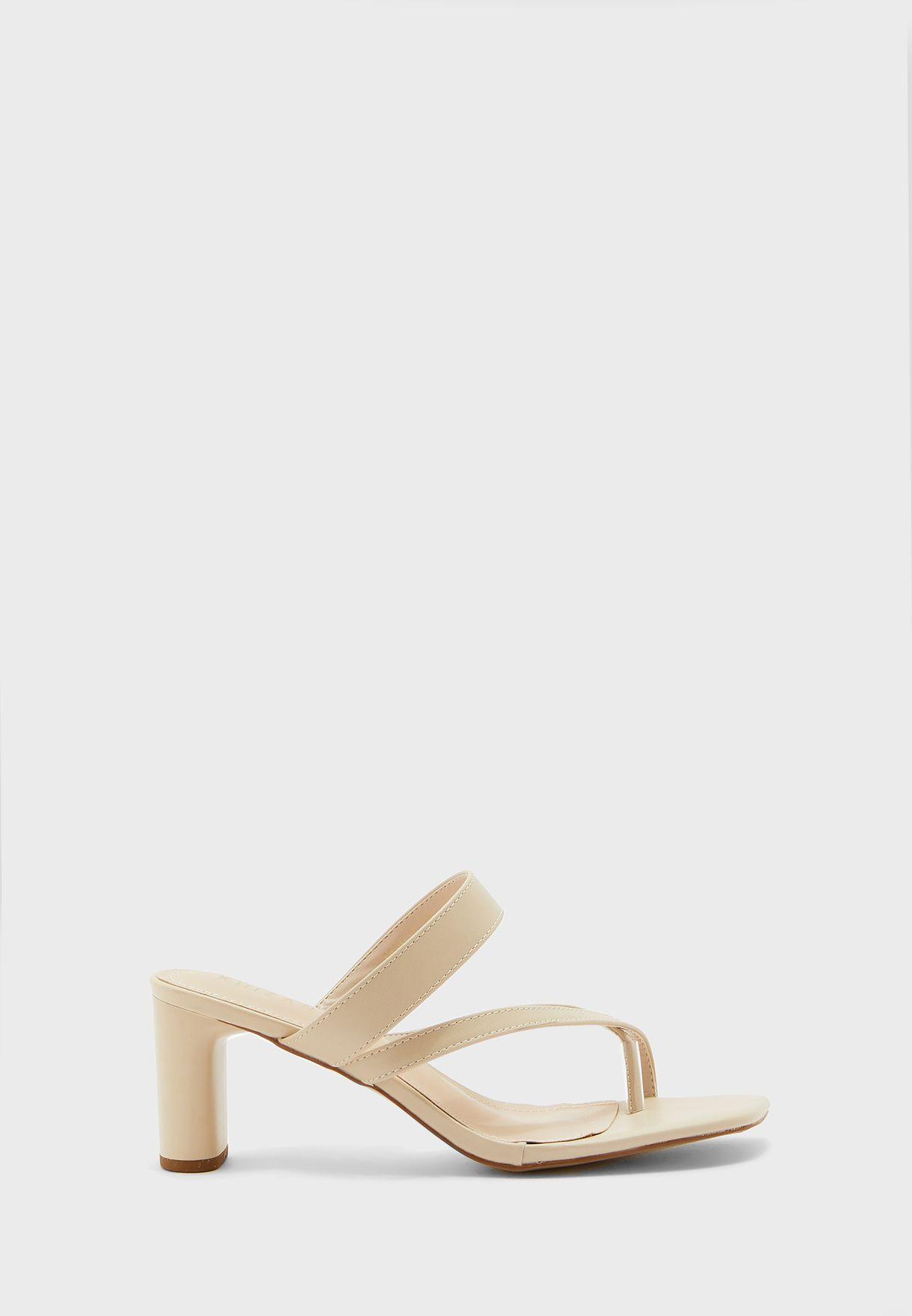 Cross Toe Strap Block Heel Mule Sandal