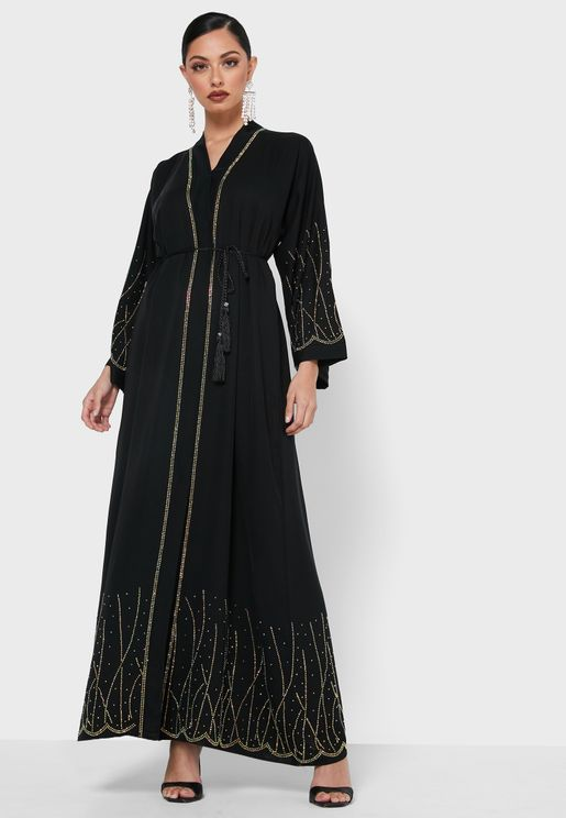 Shimmer Embroidery Detail Abaya