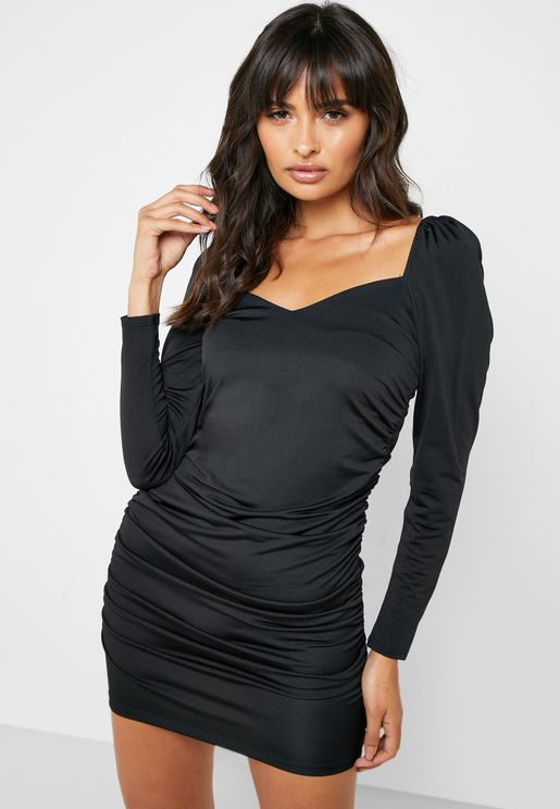 Puff Sleeve Plunge Dress