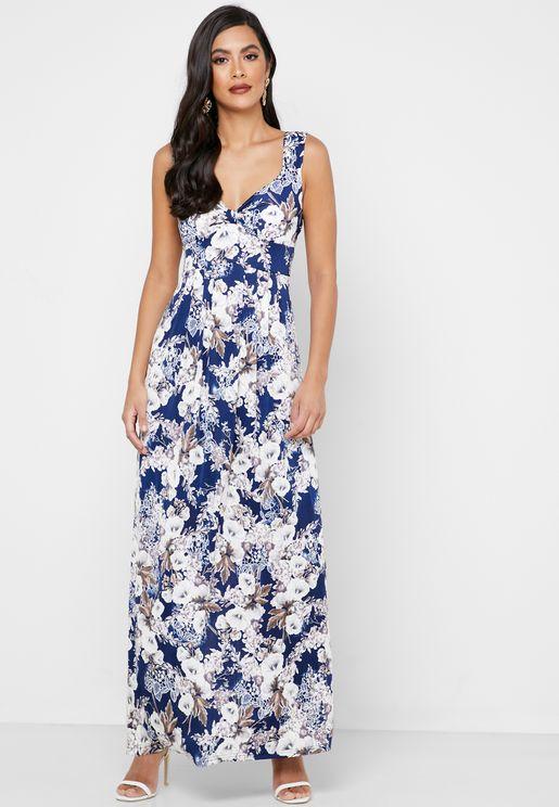 فستان بطباعة ازهار
