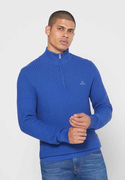 Signature Weave Half Zip Sweater