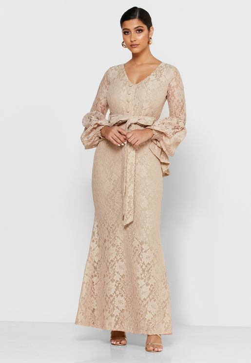 Puff Sleeves Maxi Dress