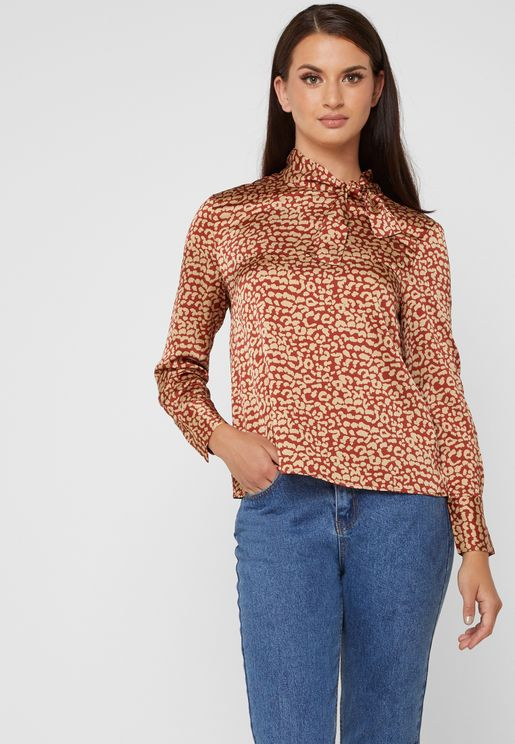 Leopard Print Tie Neck Top