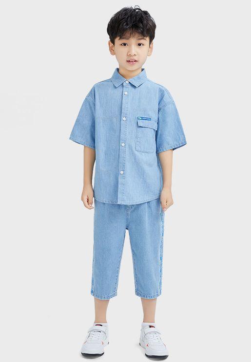 Pocket Detail Demin Shirt