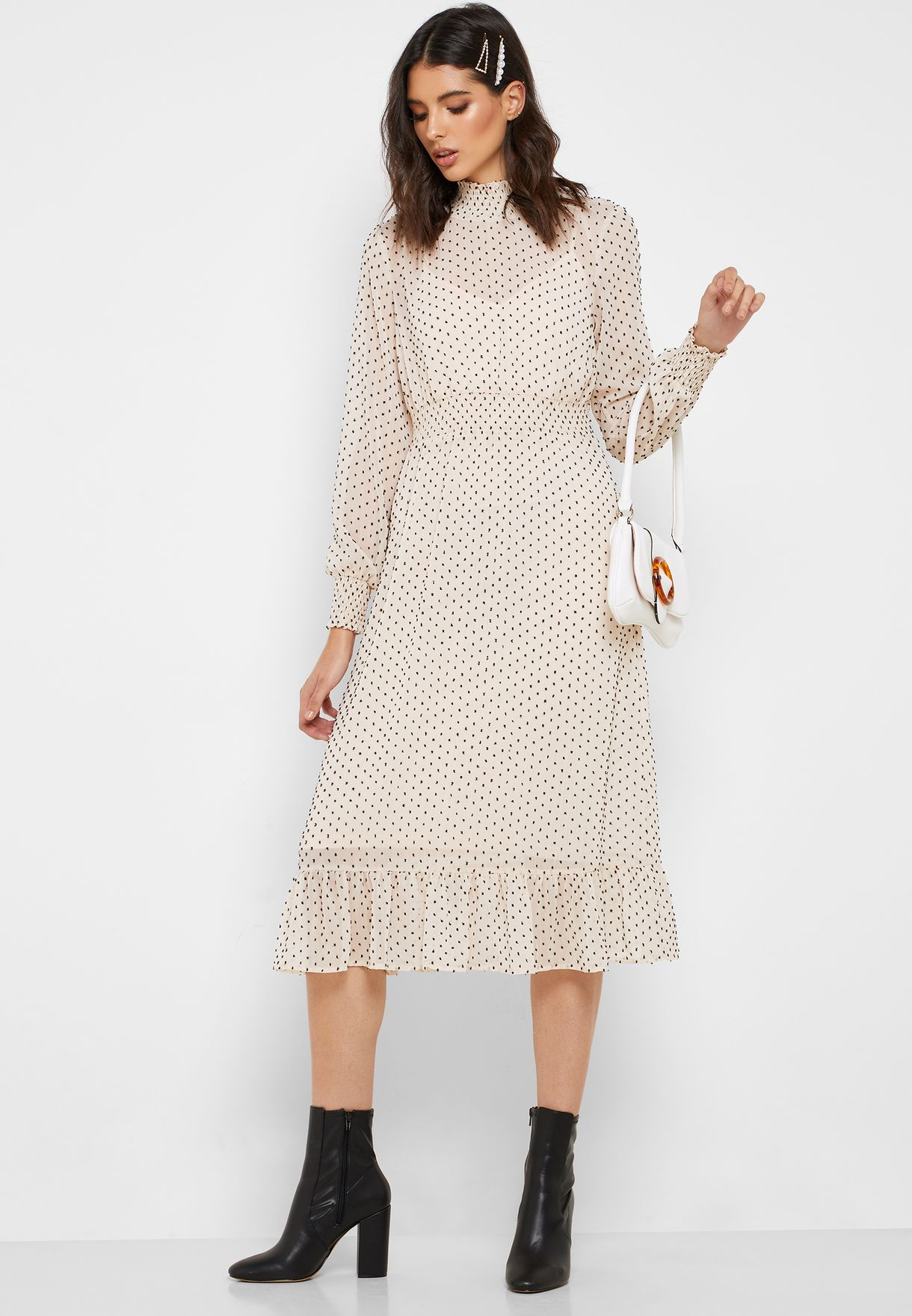 Dot Print Ruched Detail Dress