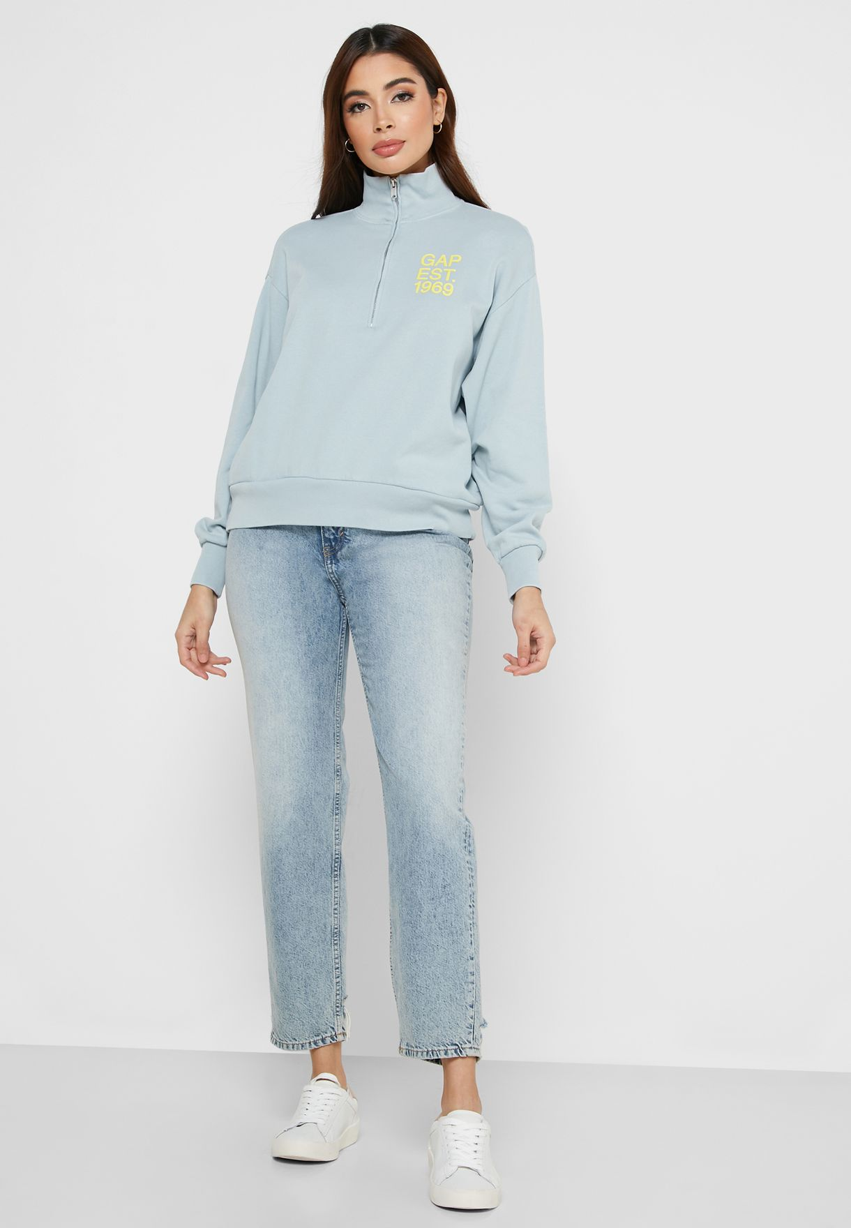 Zip Detail High Neck Sweater