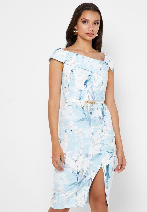 Foldover Asymmetric Bardot Printed Dress