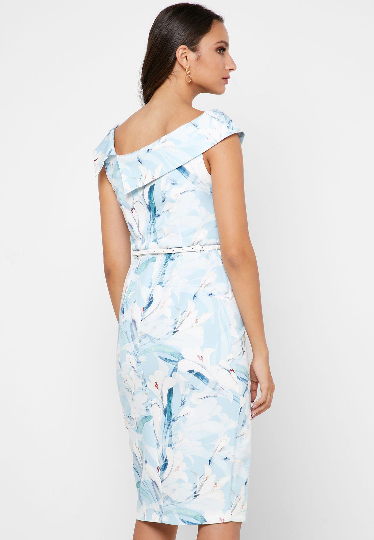 فستان مطبع بحزام
