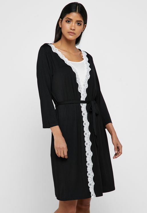 Lace Trim Wrap Front Nightdress