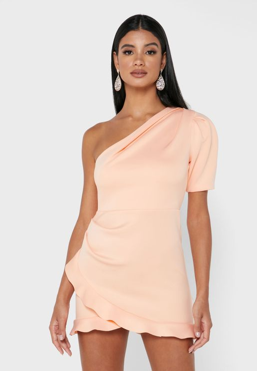 One Shoulder Ruffle Detail Bodycon Dress