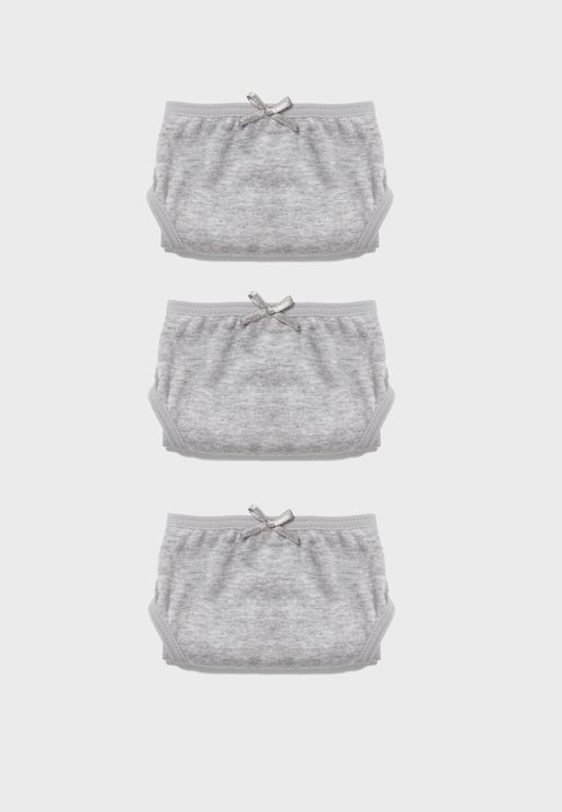 Kids 3 Pack Knot Detail Underwear