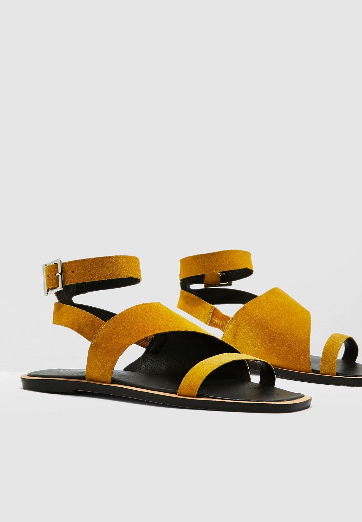 Buy Topshop yellow Hazel Flat Sandal