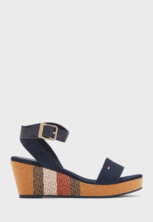 Monogram Cork Mid Heel Wedge Sandal
